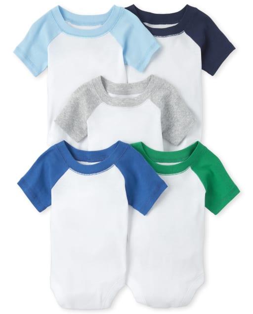 Baby Boys Short Sleeve Raglan Bodysuit 5-Pack