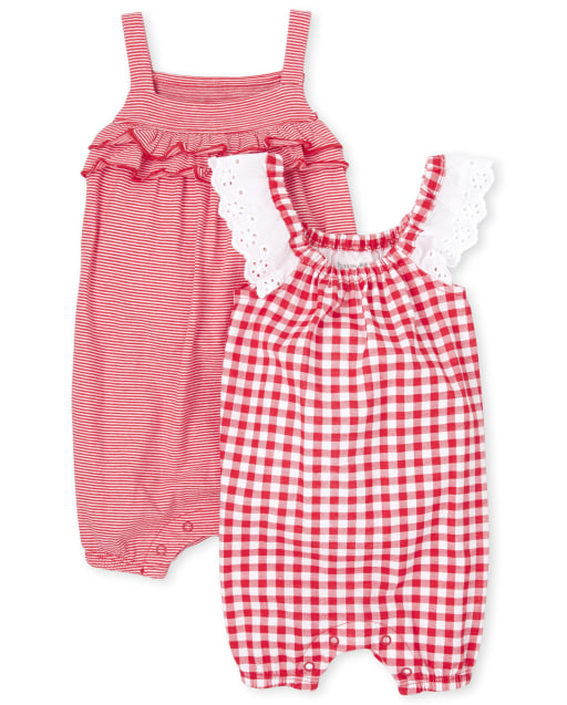 Baby Girls Short Ruffle Sleeve Gingham And Striped Knit Ruffle Romper 2-Pack