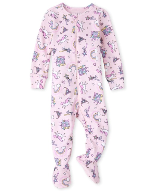 Baby And Toddler Girls Short Sleeve 'Daddy's Little Princess' Unicorn Print Matching Snug Fit Cotton Footed One Piece Pajamas