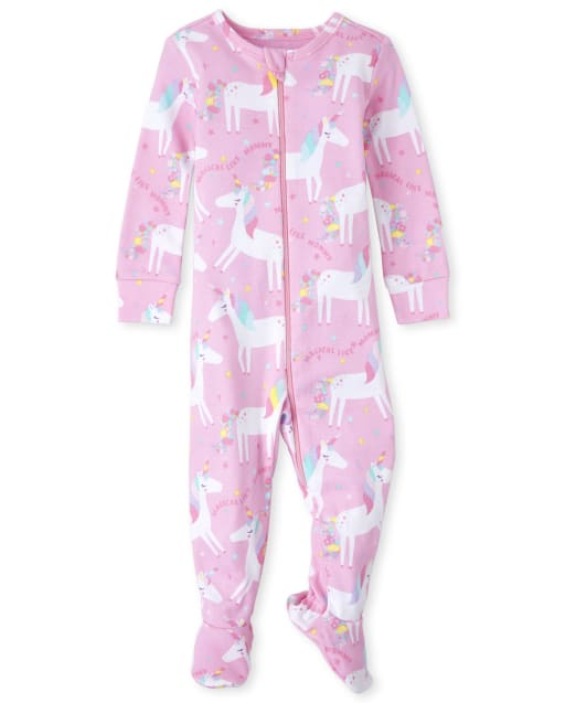 Baby And Toddler Girls Short Sleeve Unicorn Print Snug Fit Cotton Footed One Piece Pajamas