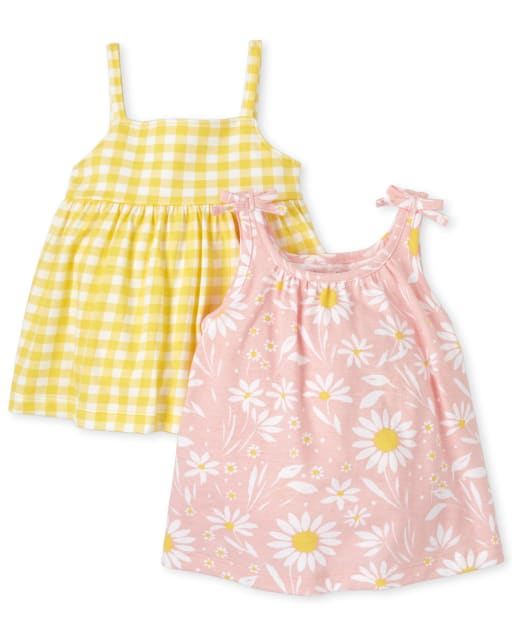 Baby Girls Sleeveless Daisy Print And Gingham Knit Dress 2-Pack