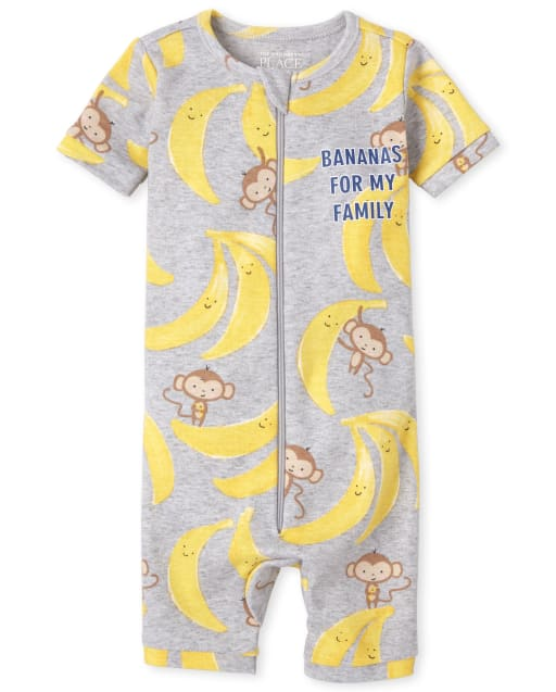 Baby And Toddler Boys Short Sleeve 'Banana's For My Family' Banana Print Matching Snug Fit Cotton Cropped One Piece Pajamas