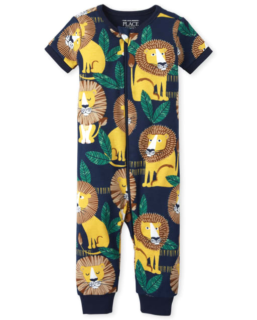 Baby And Toddler Boys Short Sleeve Lion Print Snug Fit Cotton One Piece Pajamas