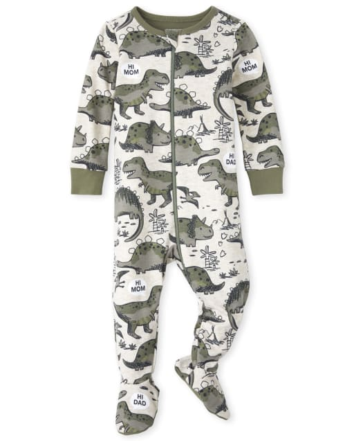 Baby And Toddler Boys Short Sleeve Dino Print Snug Fit Cotton Footed One Piece Pajamas