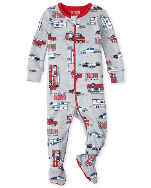 Baby And Toddler Boys Short Sleeve Fire Truck Print Snug Fit Cotton Footed One Piece Pajamas