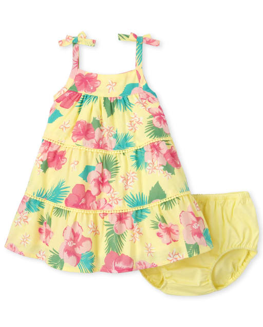 Baby Girls Sleeveless Floral Print Woven Tiered Dress And Bloomers Set