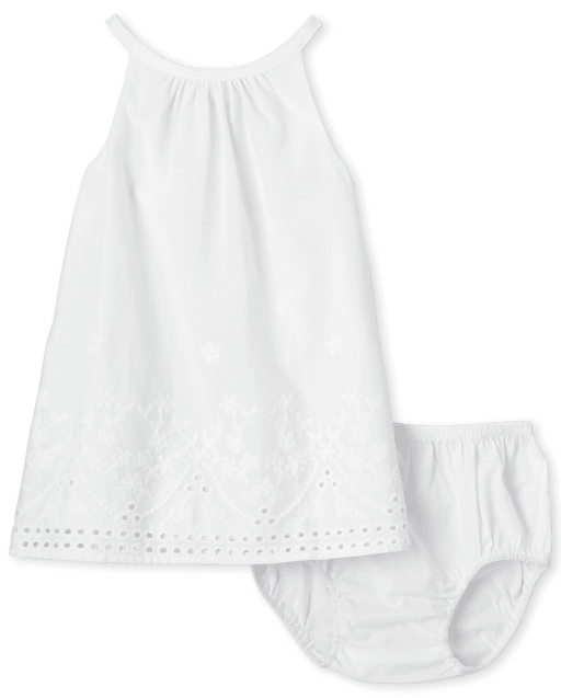 Baby Girls Sleeveless Eyelet Woven Shift Dress And Bloomers Set