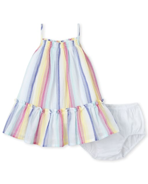 Baby Girls Sleeveless Striped Woven Ruffle Dress And Bloomers Set