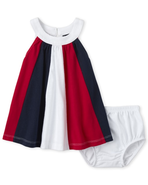 Baby Girls Americana Sleeveless Striped Knit Matching Dress And Bloomers Set