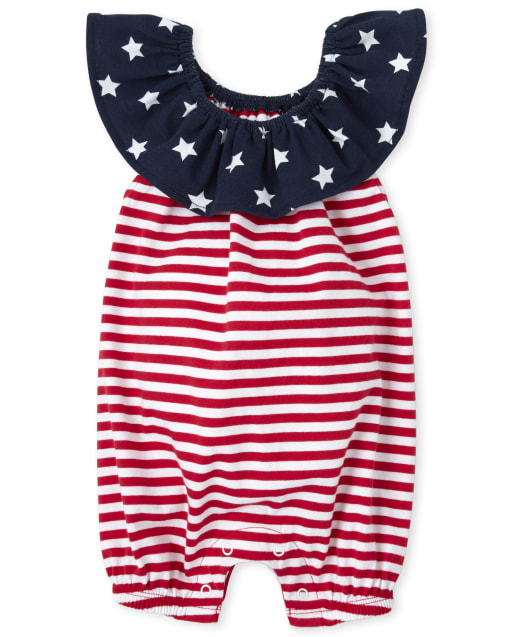 Baby Girls Americana Short Sleeve Stars Print And Striped Knit Ruffle Romper