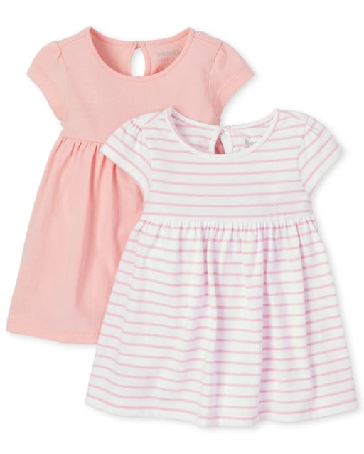 Baby Girls Short Sleeve Striped And Solid Knit Bodysuit Dress 2-Pack
