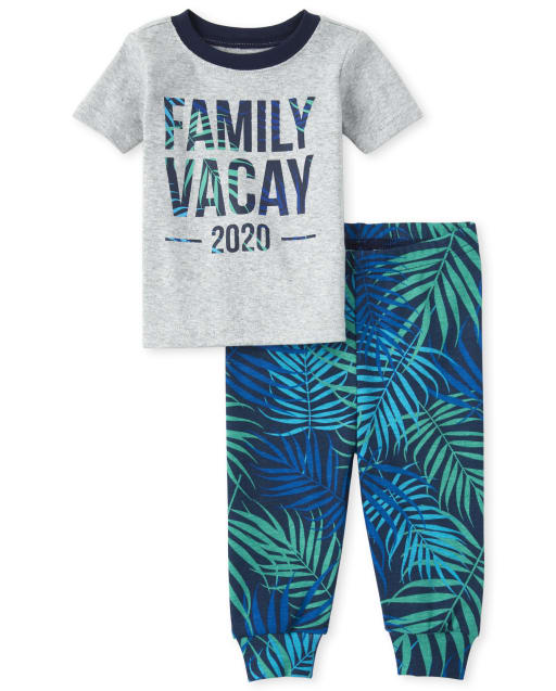 Baby And Toddler Boys Matching Family Short Sleeve 'Family Vacay 2020' Palm Print Snug Fit Cotton Pajamas