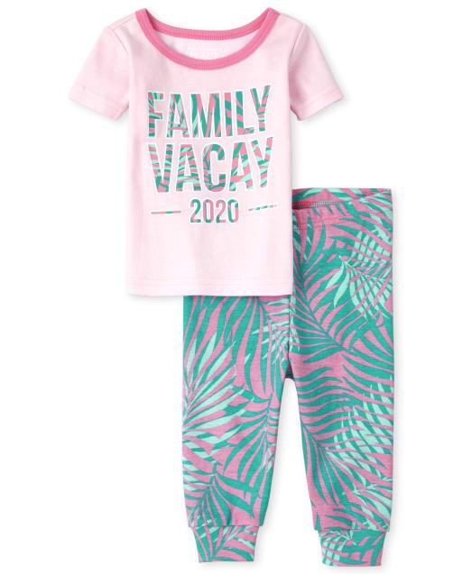 Pijamas de algodón ajustados Vacay 2020 a juego para bebés y niñas pequeñas a juego