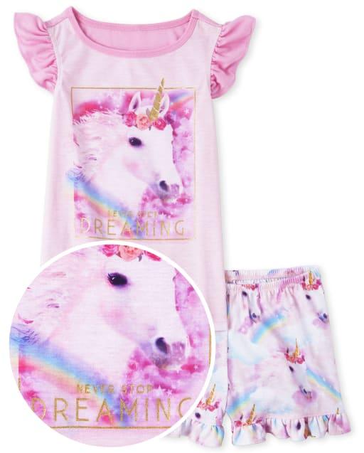 Pijama de unicornio con purpurina para niñas