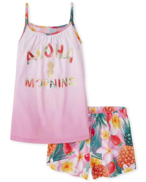 Niñas Foil Aloha Pijamas de Frutas Tropicales
