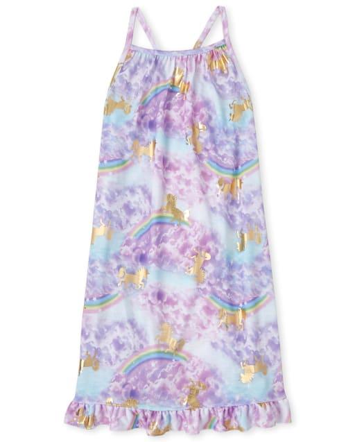 Girls Sleeveless Foil Rainbow Unicorn Print Ruffle Racerback Nightgown