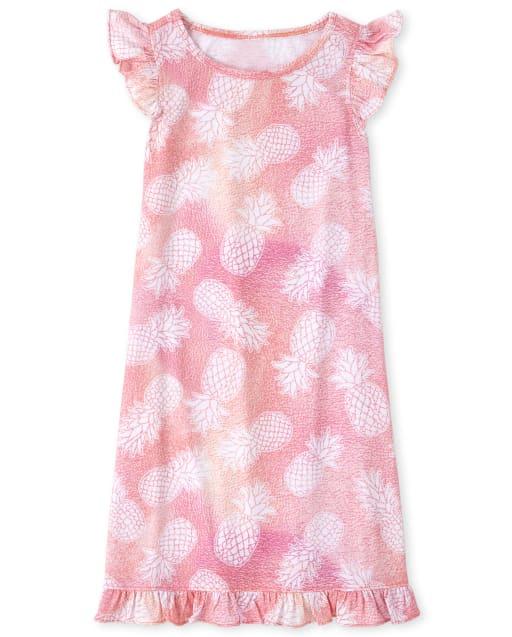 Girls Short Flutter Sleeve Pineapple Print Nightgown