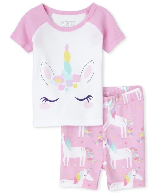 Baby And Toddler Girls Short Raglan Sleeve Unicorn Print Snug Fit Cotton Pajamas