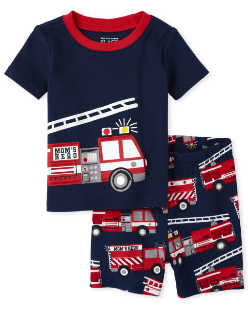 Baby And Toddler Boys Short Sleeve Fire Truck Snug Fit Cotton Pajamas