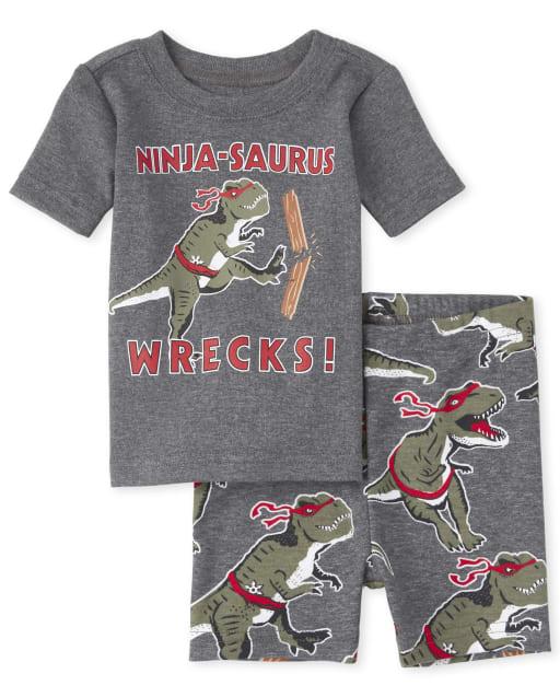 Baby And Toddler Boys Short Sleeve 'Ninja-Saurus Wrecks' Dino Ninja Print Snug Fit Cotton Pajamas
