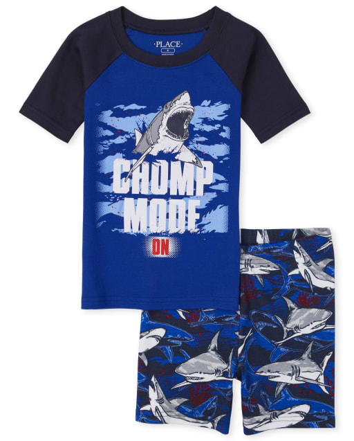 Boys Short Raglan Sleeve Glow In The Dark 'Chomp Mode On' Shark Snug Fit Cotton Pajamas