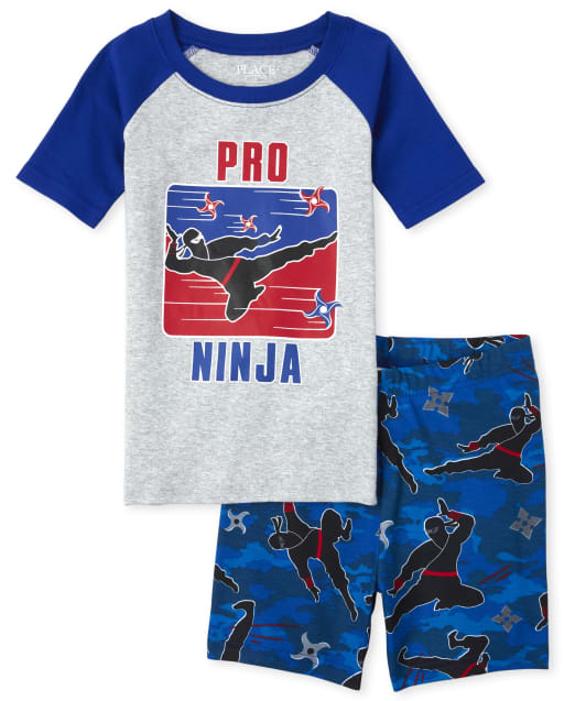 Boys Short Raglan Sleeve Glow In The Dark 'Pro Ninja' Snug Fit Cotton Pajamas