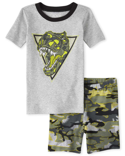 Boys Short Sleeve Camo Dino Snug Fit Cotton Pajamas