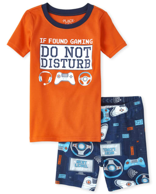 Boys Short Sleeve 'If Found Gaming Do Not Disturb' Video Game Snug Fit Cotton Pajamas