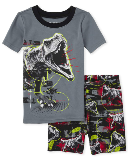 Boys Short Sleeve Dino Snug Fit Cotton Pajamas