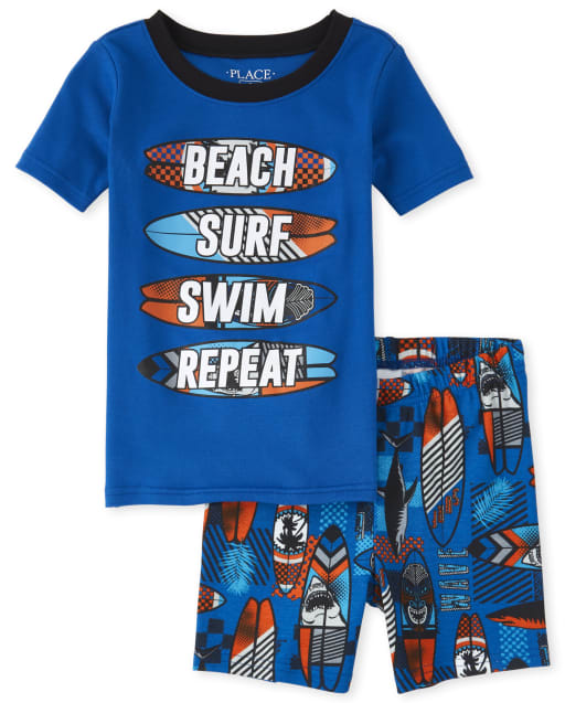 Boys Short Sleeve 'Beach Surf Swim Repeat' Shark Print Snug Fit Cotton Pajamas