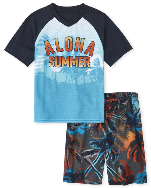 Boys Short Raglan Sleeve 'Aloha Summer' Palm Tree Pajamas