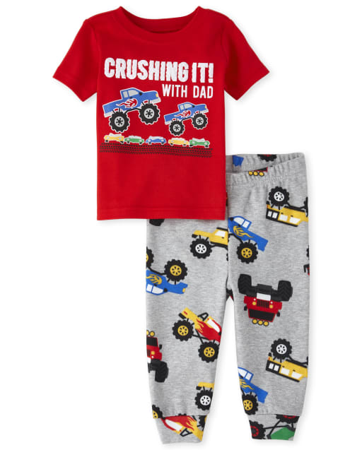 Baby And Toddler Boys Short Sleeve Puff Print 'Crushing It With Dad' Monster Truck Print Snug Fit Cotton Pajamas