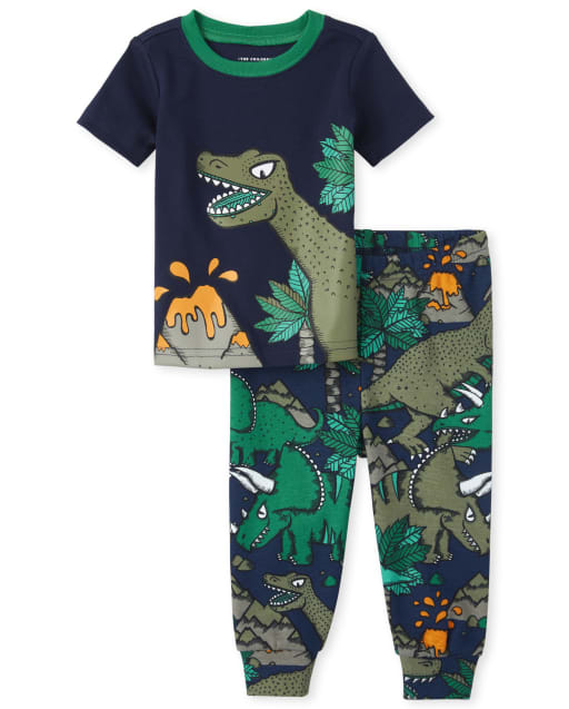 Baby And Toddler Boys Short Sleeve Dino Print Snug Fit Cotton Pajamas