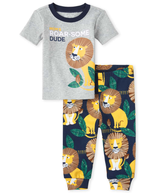Baby And Toddler Boys Short Sleeve 'Mom's Roar-Some Dude' Lion Print Snug Fit Cotton Pajamas