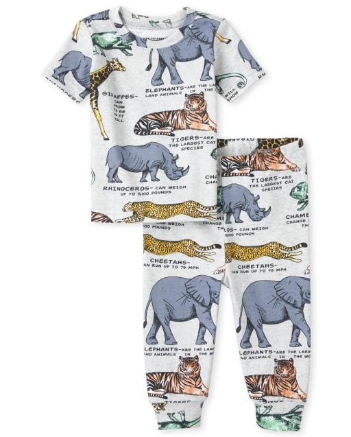 Baby And Toddler Boys Short Sleeve Animal Print Snug Fit Cotton Pajamas