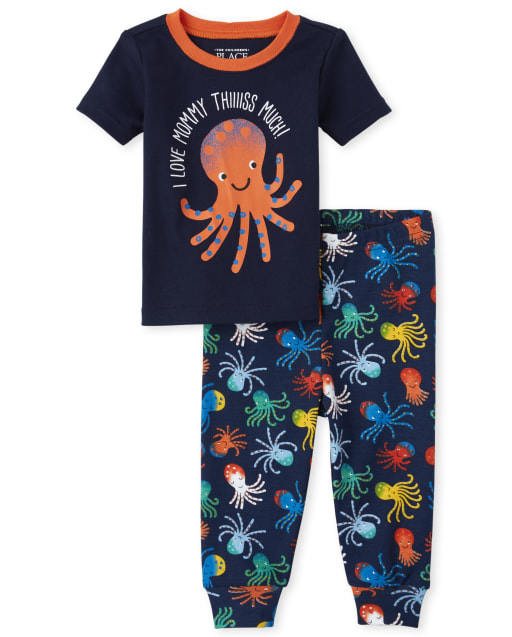 Baby And Toddler Boys Short Sleeve 'I Love Mommy This Much' Octopus Print Matching Snug Fit Cotton Pajamas