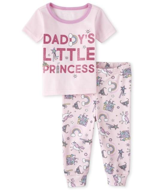 Bebé y niñas pequeñas Brillo de manga corta ' Papi ' s Little Princess ' Unicorn Print Pijamas de algodón ajustados a juego