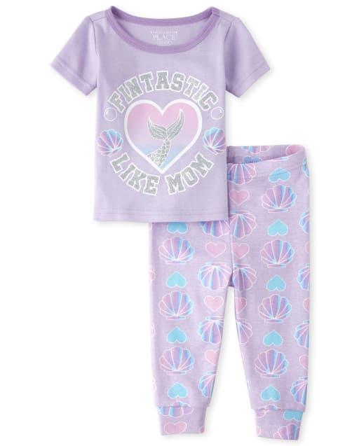 Brillo de manga corta para bebés y niñas pequeñas ' Fintastic Like Mom ' Escamas de sirena Imprimir Pijamas de algodón ajustados