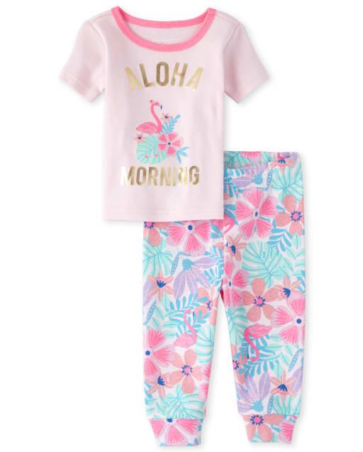 Lámina de manga corta para bebés y niñas pequeñas ' Aloha Sunshine ' Pijama de algodón ajustado con estampado floral y flamenco