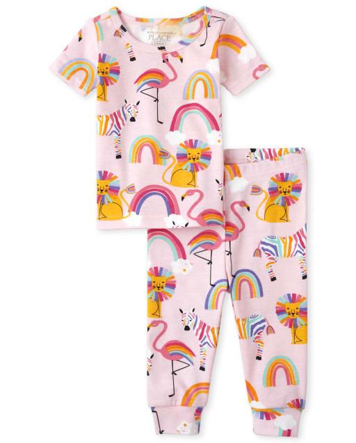Pijamas de algodón ajustados con estampado de cebra y león arcoiris de manga corta para bebés y niñas pequeñas