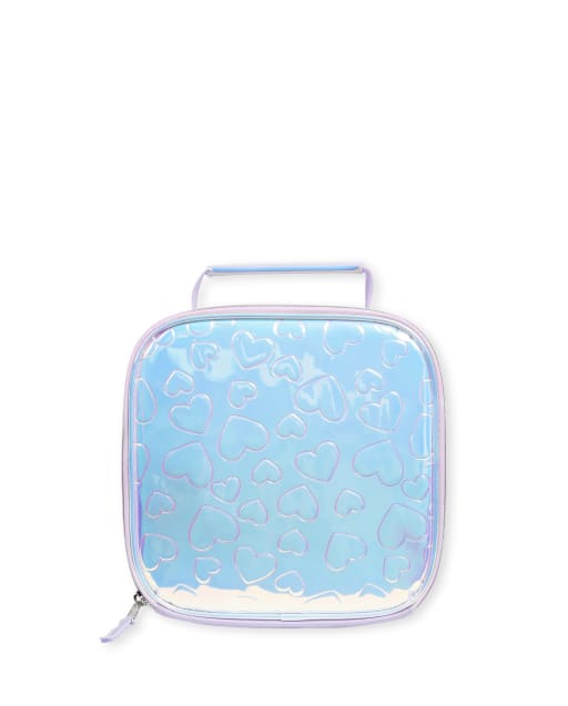 Girls Embossed Heart Holographic Lunch Box