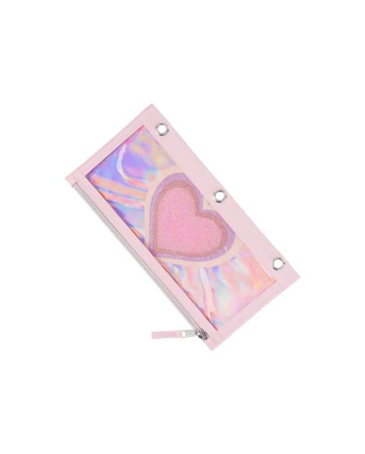 Girls Glitter Heart Pencil Case