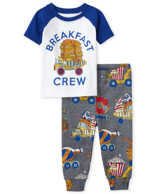 Baby And Toddler Boys Short Raglan Sleeve 'Breakfast Crew' Waffle And Syrup Print Snug Fit Cotton Pajamas