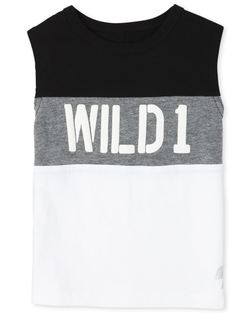 Baby And Toddler Boys PLACE Sport Sleeveless 'Wild 1' Colorblock Muscle Top