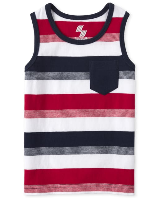 Baby And Toddler Boys Americana Mix And Match Sleeveless Striped Pocket Tank Top