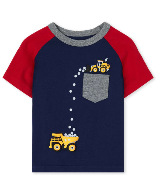 Baby And Toddler Boys Short Raglan Sleeve Puff Print Graphic Pocket Top