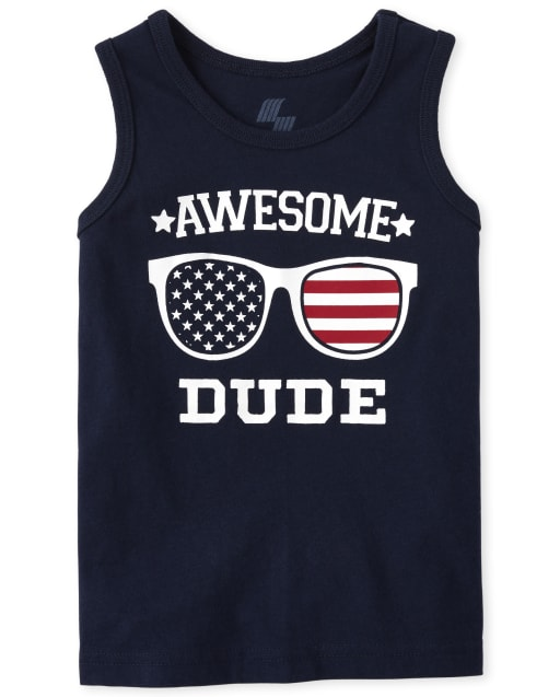 Baby And Toddler Boys Americana Mix And Match Sleeveless 'Awesome Dude' Flag Graphic Tank Top