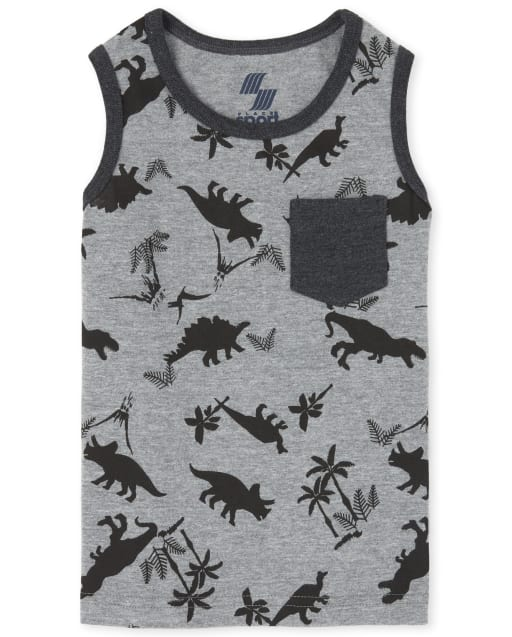 Baby And Toddler Boys Mix And Match Sleeveless Dino Print Pocket Tank Top