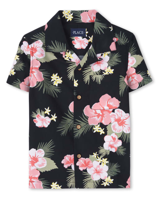 Boys Matching Family Short Sleeve Tropical Print Poplin Button Down Shirt
