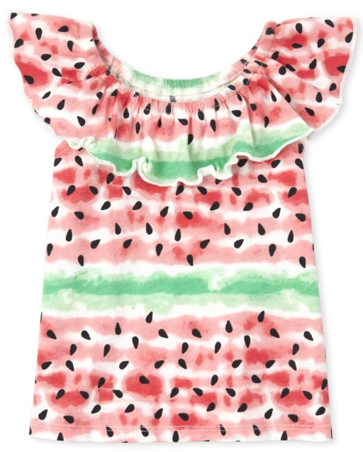 Baby And Toddler Girls Mix And Match Sleeveless Print Ruffle Top